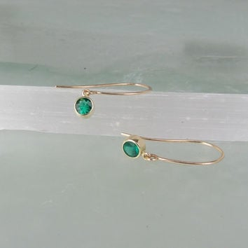 Emerald 14k Yellow Gold Bezel Set Dangle Earrings Fine Gemstone Jewelry May Birthstone