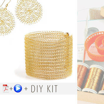 "Yoola ""Ruby"" Kit - Wire Crochet Tutorials and Supplies - Flower, Cuff"