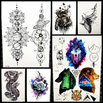 Black Waterproof Geometric Planets Temporary Tattoo Star Moon Space Universe Men Women Arm Sleeve Fake Tattoo Stickers GLZ-129