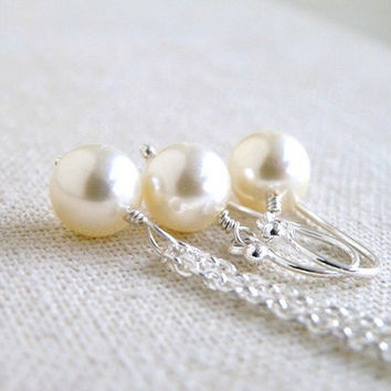 Bridal Earrings and Necklace Set Swarovski Light Ivory Pearl Sterling Silver Wedding Jewelry Pearl Jewelry
