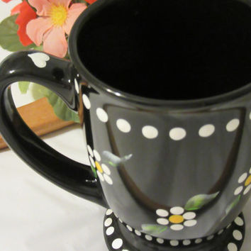 Hand Painted Coffee  Mug Cup - Unique One of a Kind - Black With White Dot Daisies - Super Gift Idea