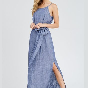 Tie Front Chambray Maxi Dress