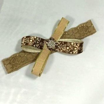 Brown Damask Ribbon and Burlap Bow Lace Headband