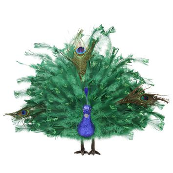 "20"" Colorful Green Regal Peacock Bird with Open Tail Feathers Christmas Decoration"