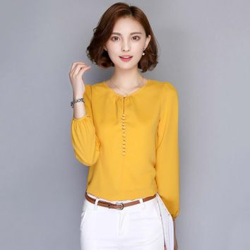 Fashion Women Casual Loose Blouses Long Sleeve Autumn Chiffon Blouse Shirt Elegant Ladies Tops White Pink