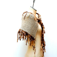 Ready to Ship: The Forest Fawn Caplet ~ Hand Knitted Merino Wool Cape Caplet Shawl Wrap with Wool Fur Trim and Ties in Oatmeal Heather