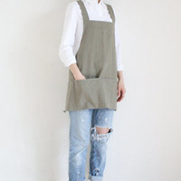 Linen Tool apron,Light khaki