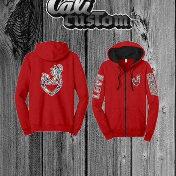 Love Country Camo Heart Red Zip Up Hoodie