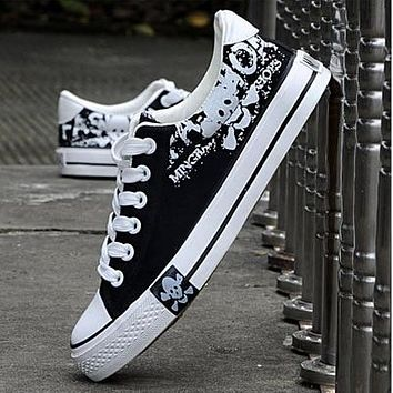 New fashion skull men flat bottom with canvas shoes Oxford shoes casual shoes
