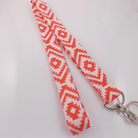 Tribal Lanyard Teacher Lanyard Aztec Lanyard Tribal Key Holder Coral Lanyard Nurse Lanyard Work Lanyard Fabric Lanyard Tribal Necklace