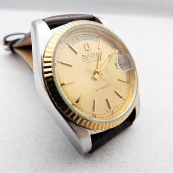 Bulova Super Seville Day-Date Vintage Automatic Mens Two-Tone Pre-Owned Watch....36mm