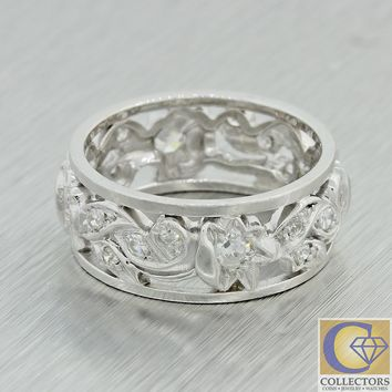 1930s Antique Art Deco Filigree Palladium 8mm Floral Diamond Wedding Band Ring