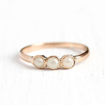 Vintage Baby Ring - 10k Rose Gold Simulated Pearl Jewelry - Size 1/2 Antique 1900s Edwardian Fine Midi Children's Dainty Paste Stones