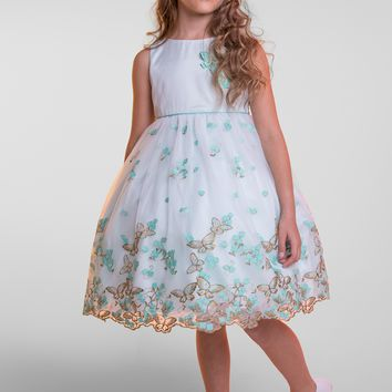 Pastel Blue Organza Dress with Embroidered Flowers & Metallic Butterflies  Girls Size 2T - 12