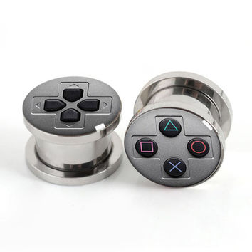1 Pair of Game Console plug gauges stainless steel screw fit ear plugs flesh tunnel body jewelry SPP018