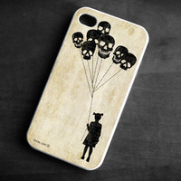 IPhone Case girl skull balloons Soft TPU Gel Silicone Cover iPhone 4/4S gothic art black scary funny