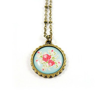 Rose Pendant Necklace - Floral Jewelry - Light Blue and Red Rose Necklace - Pink Rose Green Leaves