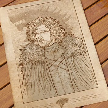 Etsy art poster Game of Thrones Jon Snow Digital ink illustration A3