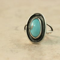Sterling Silver Ring Vintage Turquoise Ring Native American Ring Estate Ring Sky Blue Ring Southwestern Ring Size 5.25