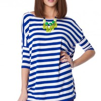 EARNESTLY STRIPED TEE IN BLUE BY PIKO