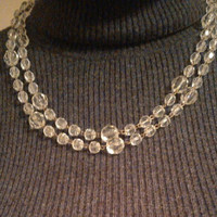 Vintage Lucite Bead Flapper Necklace - 48 inches long