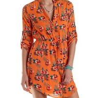 Tropical Print Shirt Dress by Charlotte Russe