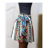 Autumn Colorful Tribal Mini Skirt Blue, Fuschia and Yellow with Sash Belt