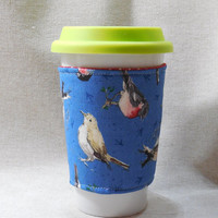 Slip-On Coffee Cozy Made With Sketchbook Bird Fabric