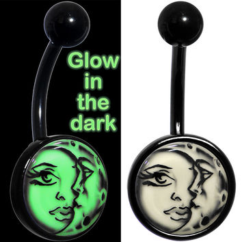 Glow in the Dark Titanium Celestial Sun Moon Belly Ring
