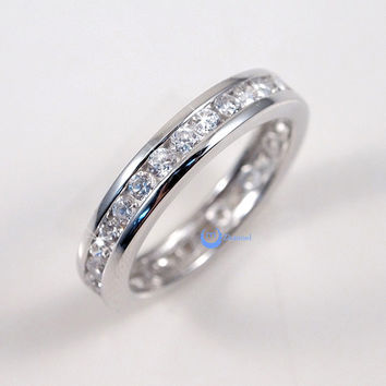Eternity Wedding Band 3mm Women S Ring Channel Set Cz Sterling Silver