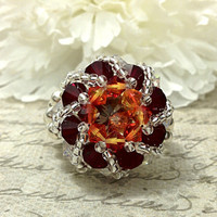 The Maddy- Fire Opal Red Swarovski Crystal and Topaz Crystal Rivoli Celestial Spiral Cocktail Stretch Ring