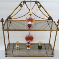 Regency Style Bronze Wall Display Tiered Glass Shelves Scrolled Finial