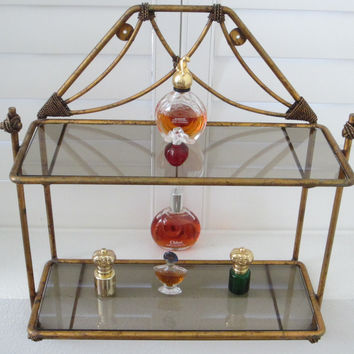 Bronze Tole Wall Display Vanity Shelf Scrolled Finial Smokey Glass Double Tiered