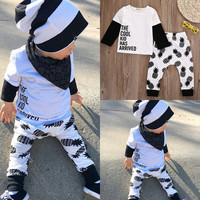 Newborn Baby Boy Girl Clothes Set Cool Kids Tops T-shirt Long Sleeve Pants 2Pcs Cotton Outfits Set Clothes