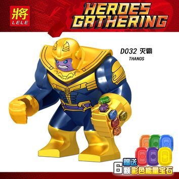 JPD032 Legoings Figures DC Legoing Marvel Avengers Infinity War Thanos With Power Stones Building Blocks Toys for Children