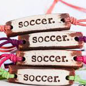 "MudLove Bracelets ""Soccer"" Hand Made Clay Pendant, Multi Color Bands"