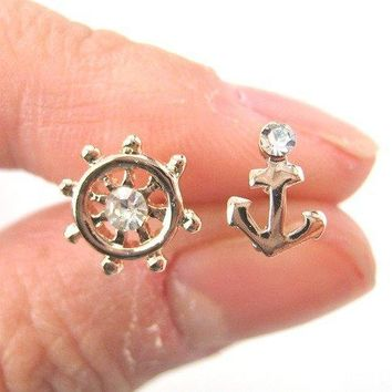 Anchor and Wheel Nautical Themed Small Stud Earrings in Rose Gold