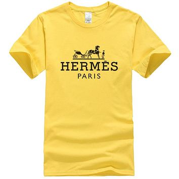 Hermes New fashion bust letter horse print couple top t-shirt Yellow
