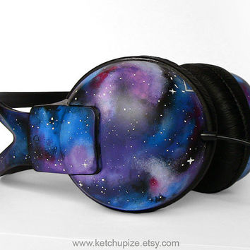 Space Galaxy Nebula large headphones earphones hand by ketchupize