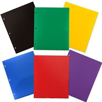 JAM Paper® Heavy Duty 3 Hole Punch 2 Pocket Plastic School Presentation Folders (Back To School Deal!) - Assorted Primary Colors - 6 Folders per Pack Folders