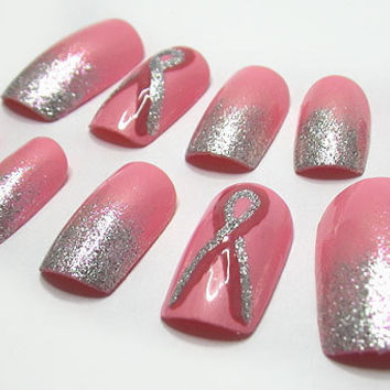 Fake Nails Breast Cancer Ribbon Pink Ombre