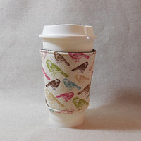 Pretty Pastel Bird Themed Slide-On Coffee Cozy