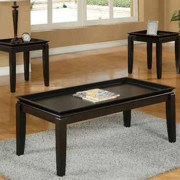 3 pc Calla dark brown finish wood coffee and end table set with raised ends