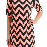 Chevron Tunic Dress - Peach and Black
