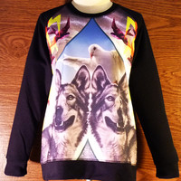 Ladies Crew Neck Jumper sweatshirt Bird Winter Dogs size M L long sleeve crew neck jumper Snarling Wolf  leopard sweater animal