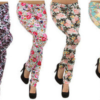New Brand Floral Print Skinny Watercolored Vintage Stretch Denim Pencil Pants