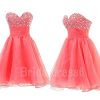 Beads Coral Sweetheart Strapless Empired Ball Gown Short Bridesmaid Cocktail Dress,Mini Tulle Formal Evening Party Prom New Homecoming Dress