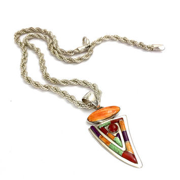 Sterling Silver Southwestern Inlayed Pendant, Spiny Oyster Carnelian Gaspeite & Sugilite Inlay, Vivid Color Story, Vintage Pendant Necklace