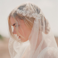 Silk tulle with hand embroidered lace trim veil - Style # 301