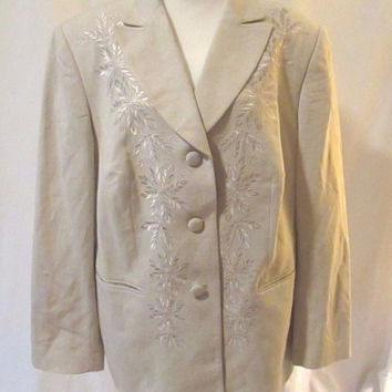 Emily Embroidered Linen Blend Blazer Women's Size 18W Tan 3 Button Lined Jacket